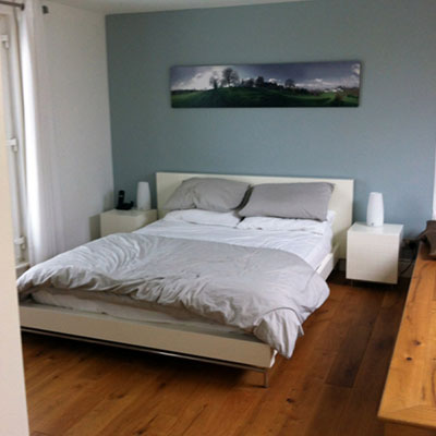 Double bed in converted loft room